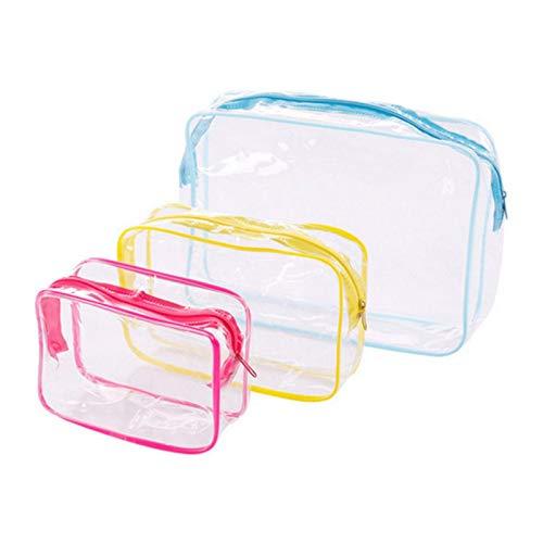 Aober 3PCS PVC Travel Transparent Cases Clothes Toiletries Storage Bag Box Luggage Towel Suitcase Pouch Zip Organizer
