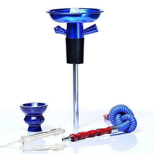 Shisha Hooksh Set/Kit Tragbar Portable Aluminium mit Kamin Keramik Rohr Stange Kohlenklammer Geeignet für die Meisten Plastikflaschen Glasflasche Wein Champagner