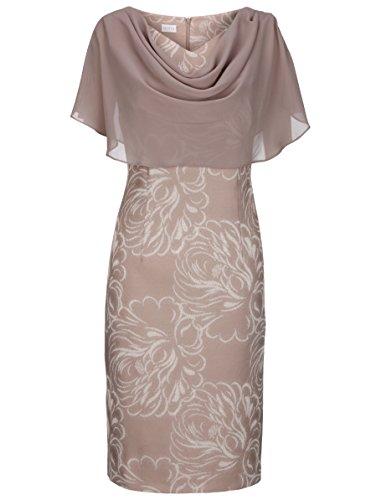 Unbekannt Marken Kleid Taupe-Ecru mit Chiffon Überwurf Gr. 48 1217803502 (48 (Kurzgr. 24))