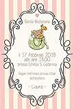Biglietti Inviti battesimo personalizzati orsetto e giraffa - partecipazioni battesimo o compleanno righe rosa bimba set da 10 biglietti