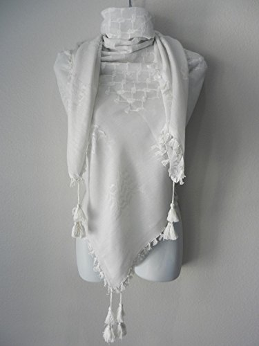 Solid White On White Arab Unisex Shemagh Head Scarf Neck Wrap Authentic Cotton