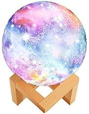 WYCY Lámpara Estrella Luna Control Tactil & Palmadita Estrella Luna Lámpara Impresión 3D 3 Colores Lámpara Estrella Luna LED con Soporte y Carga USB Como un Regalo (3 Colores, 15CM)