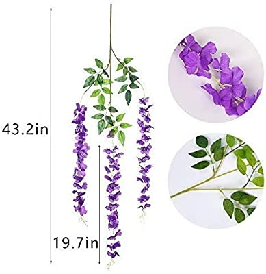 SATYAM KRAFT Wisteria Artificial Flower for Home Decoration and Craft (Pack of 2, Purple)