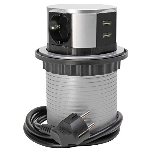 Kopp 3-Fach Steckdosen-Turm für Büro, 2X USB 2100mA, Zuleitung 1,4m, mit Berührungsschutz, 229005011
