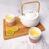 Jeeanjoose Japanische Teekanne Aus Keramik, Teeservice, 800ml Teekanne Und 2 Chinesischer Teetasse, Home Einfaches Keramisches Glasteeset, Keramik weiß Tasse