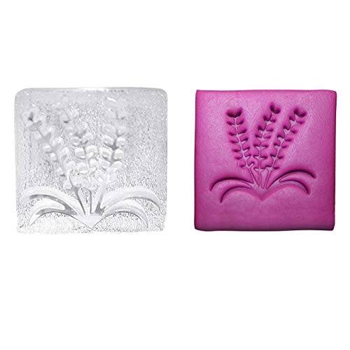 Lavender Soap Stamp Floral with Leaves Acrylic Stamps for Soap Making