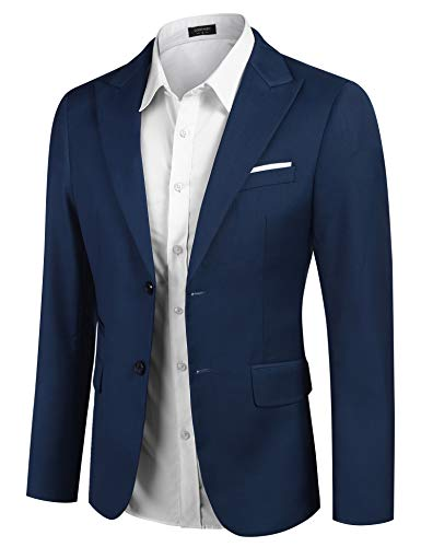 COOFANDY Men's Sport Coats Slim Fit Casual Blazer Two Button Business Suit Jacket Blue
