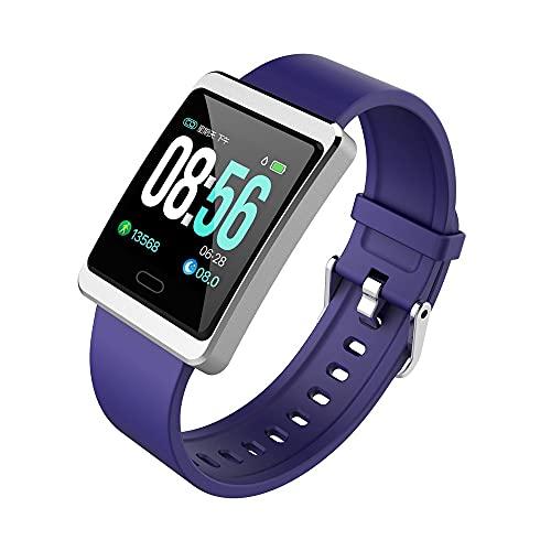 linyeshangmao El Mensaje de monitoreo de la Salud de la Velocidad del corazón de la Pantalla Grande de 1,3 Pulgadas y13 Recuerda a IP68 Impermeable. (Color : Purple)