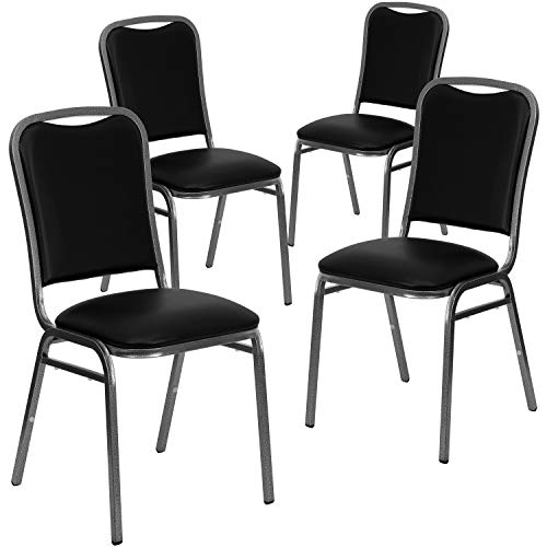 Flash Furniture 4 Pack HERCULES Series Stacking Banquet Chair in Black Vinyl - Silver Vein Frame