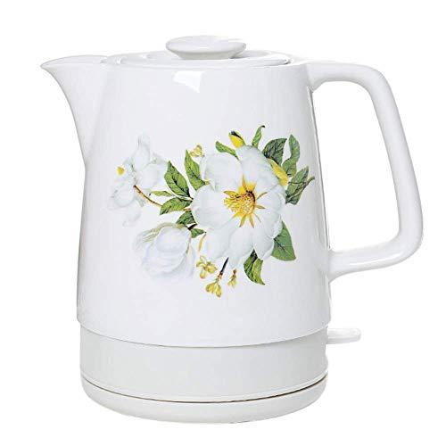 Bouilloire sans fil en céramique théière-rétro rouge 1,7 L cruche, 1850 W rapide pour thé, café, soupe, base amovible à l'avoine, protection contre l'ébullition à sec, cuisine à la maison blanche