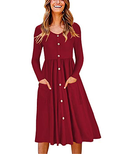 OUGES Women's Long Sleeve V Neck Button Down Midi Skater Dress with Pockets(Wine,M)