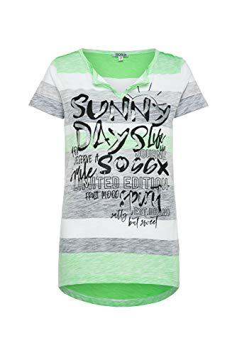 SOCCX Damen Buntes Streifenshirt mit Glitter Print
