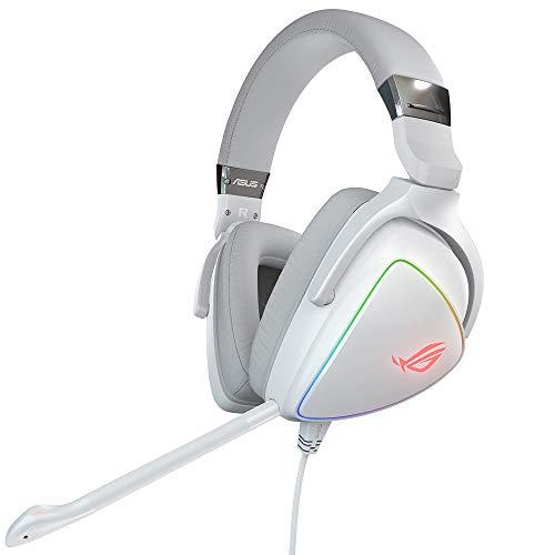 ASUS ROG Delta Cuffie Gaming, Quad-DAC, Aura Sync RGB circolare, Compatibile con PS4, Type C, Colore Bianco