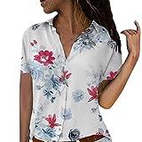 Camicetta Pullover Top Camicia Donna Taglie Forti Stampa Scollo a V Bottone Stampato (XL,2- Rosa Caldo)