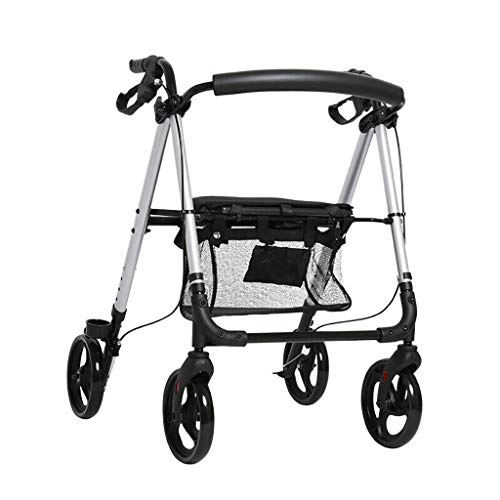 Walker,4 Wheel Medical Rolling Walker With Wheels, Seat, Backrest And Storage Pouch - Rollator Walker For Seniors- Durable Aluminum Frame, 8-Inch Wheels