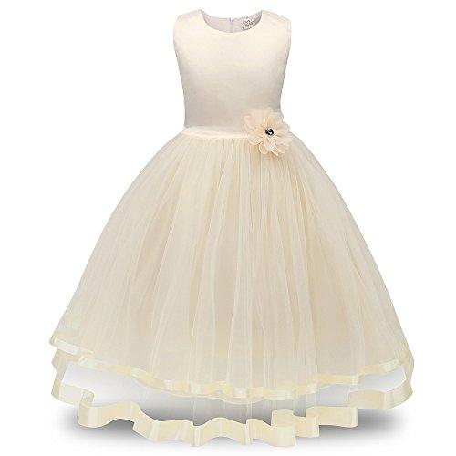 TWISFER Mädchen Tutu Blütenblätter Schleife Brautkleid für Kleinkind Mädchen Mädchen Prinzessin Kleid Spitzen Blumenmädchen Kleid Festkleid