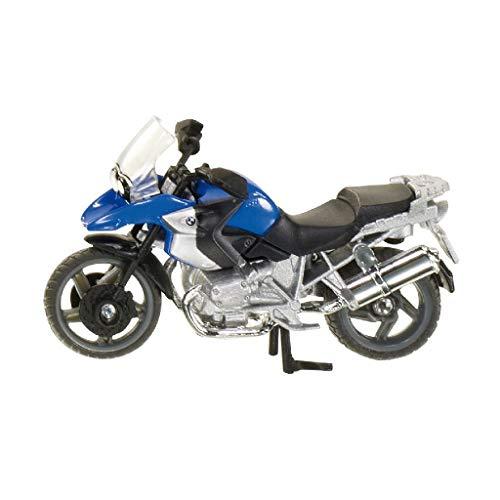 siku 1047, BWM R1200 GS Motorrad, Metall/Kunststoff, blau/silber, Klappbarer Ständer, Lenkbares Vorderrad