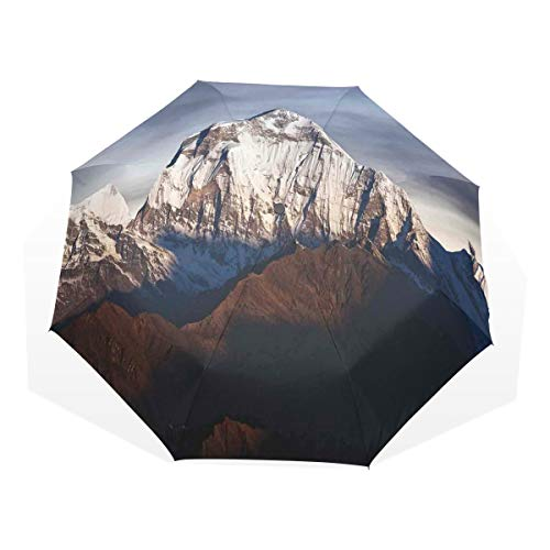 LASINSU Regenschirm,Panoramafoto des Berges Dhaulagiri dramatische Himalaya Nepal Landschaft Asien,Faltbar Kompakt Sonnenschirm UV Schutz Winddicht Regenschirm