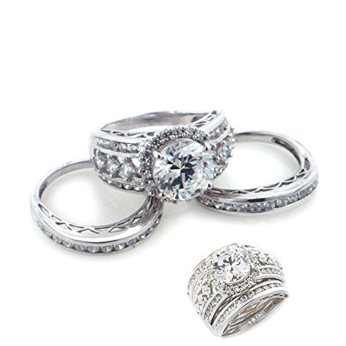 Victoria Wieck Rhodium Plated Sterling Silver Absolute Wedding Ring or Band 3 Piece Set Size 5(Sizes 5,6,7,8,9,10,11)