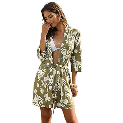 YYH Vrouwen cardigan badmode cover up casual bloemenprint chiffon kimono cardigan zomer badpak blouse tops Small groen