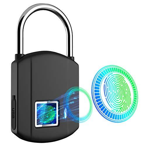 Fingerprint Padlock, IP65 Waterproof Smart Biometric Lock, Outdoor Keyless Digital Lock Travel Locks, USB Recharge Security Metal Thumbprint Stoplock for Gym, School Locker, Door, Luggage, Backpack