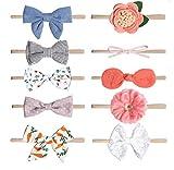 Microcotry Baby Mädchen Kopfbedeckung Super Elastische Haarbänder süße Mädchen Schleifen Nylon Stirnband Kopfwickel Set Haarzubehör für Neugeborene Mädchen Kleinkind 10 Stück