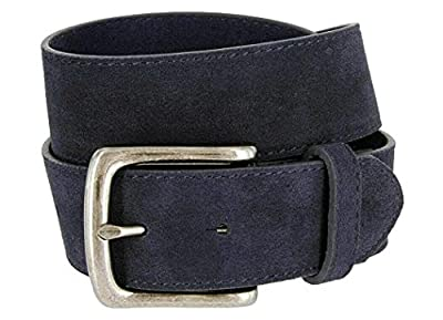 """Rounded Edge Buckle Casual Jean Suede Leather Belt 1 1/2"""" Wide for Women (Navy, 30)"""