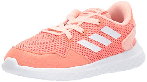 adidas Unisex-Kid's Archivo Sneaker, Semi Coral/White/Glow Pink, 1 M US Little Kid