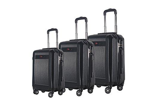 3-Piece Hardside Spinner Expandable Suitcase Set #906 (Black)