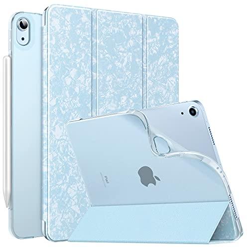 MoKo Funda para iPad Air 4ta Generación 2020 Nuevo iPad 10.9 2020, [Admite Carga Inalámbrica Apple Pencil]Cubierta Protectora Delgada Trasera Transparente TPU Auto-Reposo/Activación,Azul Cielo Moteado
