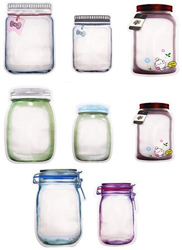 VAIYNWOM Sacchetti per congelatore, 40 pezzi, Mason Jar Zip, Freezer Bags, sacchetti riutilizzabili per alimenti, barattoli per conserve, sigillati per biscotti, snack e caramelle