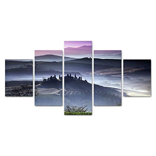 haiyilan Leinwand Wandkunst Modern 5Pcs Morgennebellandschaft in der Toskana, Italien Abstrakte Gemälde Leinwanddruck Grafik Leinwand Malerei Poster Bilder für Wände modern für Esszimmer Kunst Leinwa
