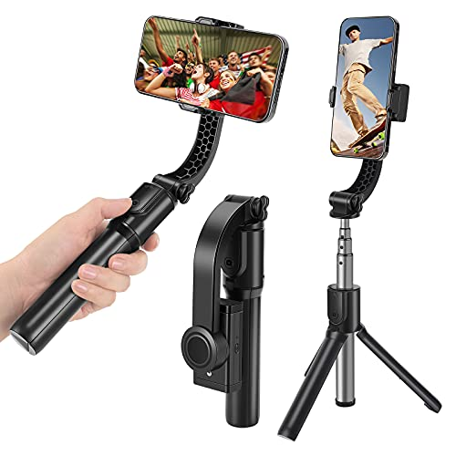 Wensot Gimbal Stabilizer for Smartphone with Extendable Selfie Stick,Tripod,1-Axis Multifunction Bluetooth Wireless Remote, Handheld Gimbal for Vlogging,YouTube,Live Video,iPhone/Android