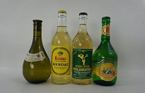 24x 500 ml Retsina 4 Sorten 24 Flaschen - Kechribari Malamatina Kourtaki Golden - Super Spar Probier Set - geharzter Weißwein aus Griechenland 24 Flaschen Weiß Wein + 2 Probiersachets a 10 ml Olivenöl von Kreta gratis