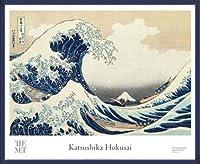 ポスター ホクサイ The Great Wave 富嶽三十六景・神奈川沖波裏 額装品 ウッドベーシックフレーム(ブルー)