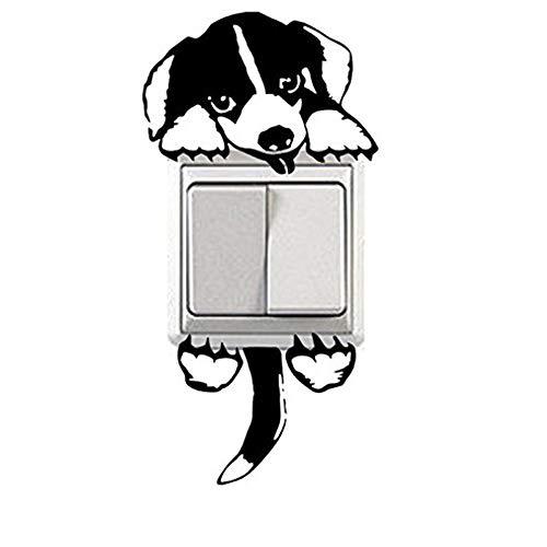 PULABO Lichtschalter Aufkleber lustige Wandaufkleber dekorative Aufkleber niedlichen schwarzen Hund Muster neu veröffentlicht langlebig