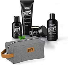 Chips High Maintenance Mens Grooming Essential Set - Hair Products for Men and Men Grooming Kit, Texture Pomade, Tea Tree Oil Shampoo, Conditioner, Beard Oil, and Travel Toiletry Bag Gift for Men
