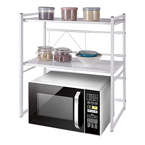 KIKIBRO Kitchen Microwave Oven Rack Shelving Unit, 3-Tier Large Capacity Microwave Oven Storage Rack, Adjustable Carbon Steel Storage Shelf for Kitchen Utensils, Towels, and Accessories, White