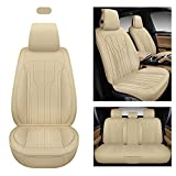 AOOG Leather Car Seat Covers, Leatherette Automotive Seat Covers for Cars SUV Pick-up Truck, Non-Slip Vehicle Car Seat Covers Universal Fit Set for Auto Interior Accessories, Full Set