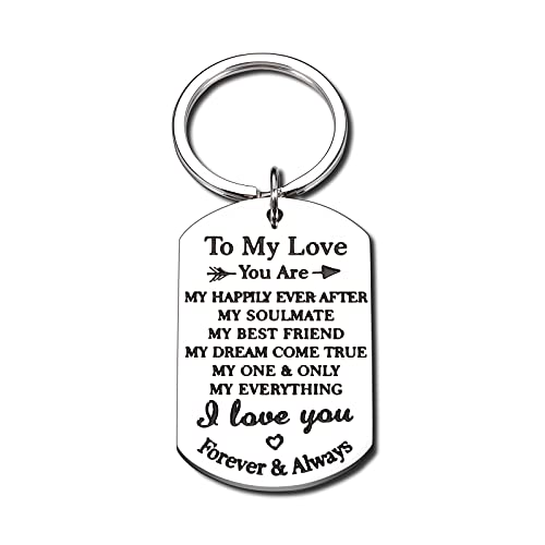 I Love You Gifts Romantic Couple Keychain for Him Her Anniversary Wedding Engagement Gifts for Husband Boyfriend from Wife Girlfriend Birthday Christmas Valentine's Gift for Bride Groom Men Women