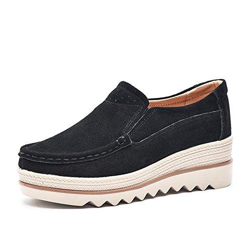 NEOKER Damen Mokassins Plateau Wildleder Schlupf Loafers Halbschuhe Sneaker mit Keilabsatz 5cm Schwarz Blau Khaki 35-42 Schwarz 39