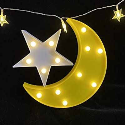 QiaoFei Decorative Moon-Star Night Light,Cute LED Nursery Night Lamp Gift-Marquee Moon-Star Sign for Birthday Party,Baby Shower,Kids Room, Living Room Decor(Yellow)