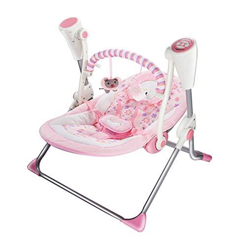 Soothing Portable Swing,Comfort Electric Baby Rocking Chair with Remote, Intelligent Music Vibration Box That Can Be Used from The Beginning of The Newborn (Pink)