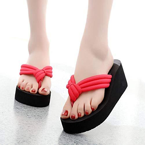 Sandalen voor massage slippers,Damessandalen met bloemclip, platform sandalen met hoge hak-Rood 1_36