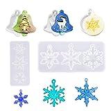 Molde de resina navideña de 5 piezas, molde de silicona para colgantes de cristal Molde para hacer joyas Molde de copo de nieve para árbol de Navidad para decoración de adornos navideños