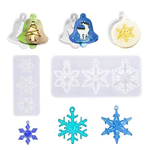 Molde de resina navideña de 5 piezas, molde de silicona para colgantes...