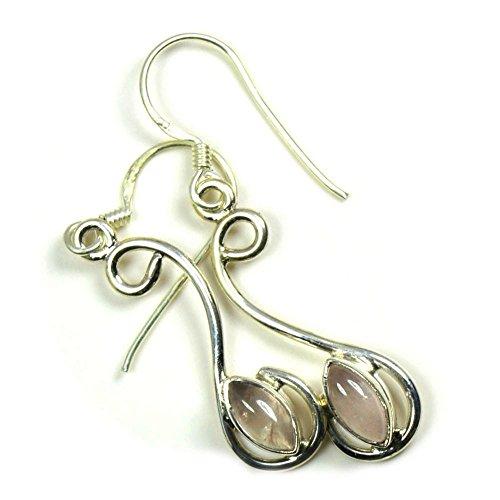 Jewelryonclick - Pendientes de cuarzo rosa natural con gema rosa india de plata de ley