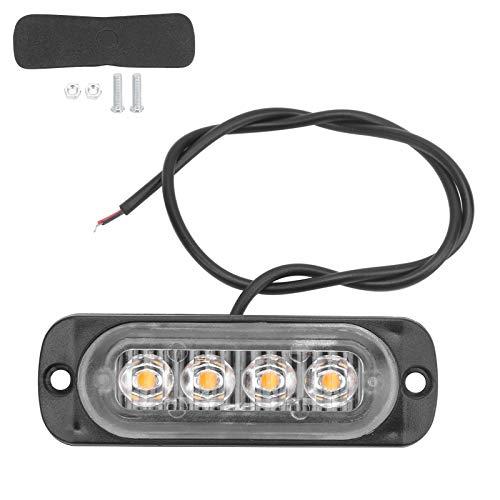 Fydun Luz lateral LED Lámpara de advertencia lateral 12V 4LED Luz amarilla Brillo alto IPX-4 a prueba de agua para coche, motocicleta, camión