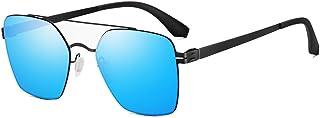 Fashion HD Sunglasses Female Driving Mirror Driver Mirror Stainless Steel Ultra Light Glasses UV400 Square Sunglasses Retro (Color : Blue)
