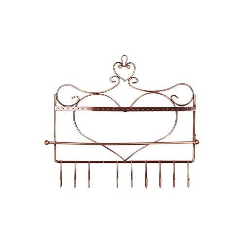 CLQ Espositore per Gioielli Appendiabiti da Parete a Forma di Cuore in Ferro Artistico Porta Gioielli Portaoggetti da Parete in Metallo per collane di Orecchini-Copper